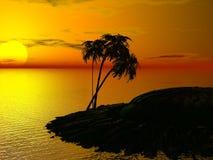 Palma e por do sol ilustração stock