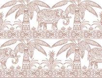 Palma e profilo del modello dell'elefante illustrazione di stock