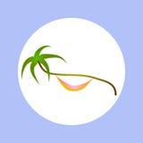 Palma e rede tropicais do ícone no círculo Imagens de Stock