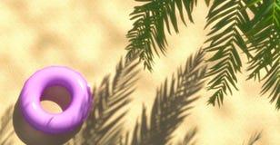 Palma e spiaggia tropicale con l'anello di galleggiamento da sopra, rappresentazione 3d Immagini Stock Libere da Diritti