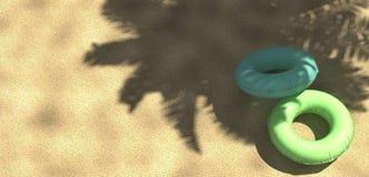 Palma e spiaggia tropicale con l'anello di galleggiamento da sopra, rappresentazione 3d Immagine Stock Libera da Diritti