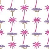 Palma e Violet Exotic Tree Isolated cor-de-rosa no branco ilustração stock
