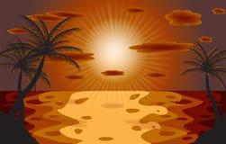 Palma en la puesta del sol. Ilustración del vector. EPS 10 ilustración del vector