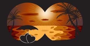 Palma en la puesta del sol. Ilustración del vector. EPS 10 stock de ilustración