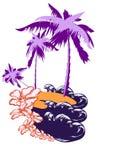 Palma en una isla de desierto Imagen de archivo libre de regalías