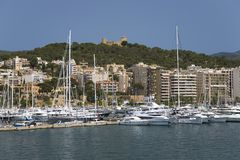 Palma Harbour & Bellver Castle of Majorca, the largest island of Spain, Europe on the Mediterranean Sea and part of Balearic Islan. Palma Harbour & Bellver Royalty Free Stock Images