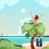 Palma indipendente del posto del lavoro a distanza dell'uomo facendo uso della vista tropicale di vacanze estive della spiaggia d royalty illustrazione gratis