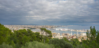 Palma, Majorca, Spain. Shot from bellver castle. Cloudy sky over Palma in Majorca island, shot from bellver castle, Spain Stock Photo