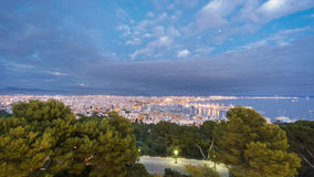 Palma, Majorca, Spain. Shot from bellver castle at dusk. Cloudy sky over Palma in Majorca island, shot from bellver castle at dusk, Spain Royalty Free Stock Images