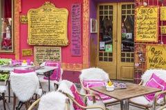 Palma Mallorca,Balearic Islands,Spain. Street view, colored bar, terrace, Bar Coto,historic center of Palma, Balearic Islands Royalty Free Stock Photo
