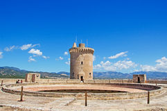 Palma, Mallorca, Majorca, Balearic Islands, Spain. The tower of Bellver Castle on June 11, 2012. Bellver Castle, 3 km from Palma, is a Gothic style castle built Stock Photography