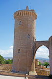 Palma, Mallorca, Majorca, Balearic Islands, Spain, Beliver Castle. The tower of Bellver Castle on June 11, 2012. Bellver Castle, 3 km from Palma, is a Gothic Royalty Free Stock Photo
