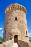 Palma, Mallorca, Majorca, Balearic Islands, Spain. The tower of Bellver Castle on June 11, 2012. Bellver Castle, 3 km from Palma, is a Gothic style castle built Royalty Free Stock Image