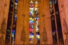 Colorful stained glass windows in the Cathedral of Santa Maria of Palma, also known as La Seu. Palma, Majorca, Spain. PALMA, MALLORCA, SPAIN - JUNE 23, 2018 Stock Photo
