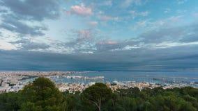 Palma marina at dusk, Majorca, Spain. Shot from bellver castle. Cloudy sky over Palma marina in Majorca island, shot from bellver castle, Spain Stock Image