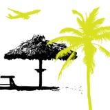 Palma na praia, vaca do verão ilustração stock