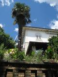 Palma och vinkeln av villan Arkivbilder