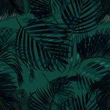 Palma opuszcza sylwetkę na zielonym tle Wektorowy bezszwowy wzór z tropikalnymi roślinami Zdjęcia Royalty Free