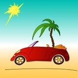Palma rossa e dell'automobile, illustrazione di estate del cabriolet illustrazione vettoriale