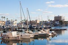 Portixol marina with boats and small yachts. PALMA, SPAIN - DECEMBER 6, 2017: Portixol marina with boats and small yachts Royalty Free Stock Images