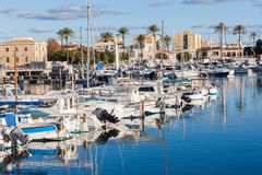 Portixol marina with boats and small yachts. PALMA, SPAIN - DECEMBER 6, 2017: Portixol marina with boats and small yachts Stock Photo