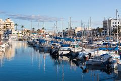 Portixol marina with boats and small yachts. PALMA, SPAIN - DECEMBER 6, 2017: Portixol marina with boats and small yachts Royalty Free Stock Photos