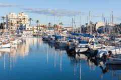 Portixol marina with boats and small yachts. PALMA, SPAIN - DECEMBER 6, 2017: Portixol marina with boats and small yachts Stock Images