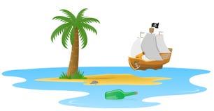 Palma su un'isola di deserto illustrazione di stock