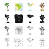 Palma, the territory of Brazil, a drink, a cocktail, a woman in a carnival costume. Brazil set collection icons in Stock Image