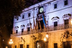 Palma Town Hall decorated for Christmas on Plaza de Cort, Palma, Majorca. Spain Stock Photos
