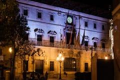 Palma Town Hall decorated for Christmas on Plaza de Cort, Palma, Majorca. Spain Royalty Free Stock Photo
