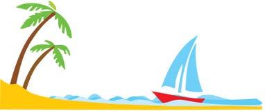 Palma tropical con el barco en el océano stock de ilustración