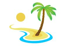Palma tropicale sull'isola con il mare. Immagini Stock