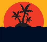 Palma tropicale sull'isola in oceano Immagini Stock