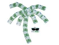 Palma van 100 euro rekeningen en zonnebril wordt gebouwd die Royalty-vrije Stock Afbeeldingen