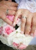 Palma w pierścionkach zaręczynowych Fotografia Stock