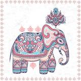 Palmadita inconsútil del vector del vintage del elefante étnico indio gráfico del loto Foto de archivo