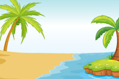 Palmand coconut tree on sea shore Royalty Free Stock Images