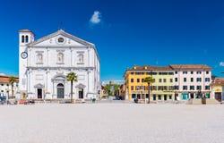 Palmanova Italien: Central fyrkant av staden Fotografering för Bildbyråer