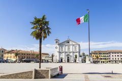 Palmanova, Italy. The Piazza Grande in Palmanova, Italy, with the Chiesa del Santissimo Redentore or Duomo. A World Heritage Site since 2017 as part of the Stock Photos