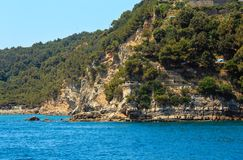 Palmaria island, La Spezia, Italy. Beautiful rocky sea coast of Palmaria island near Portovenere Gulf of Poets, Cinque Terre National Park, La Spezia, Liguria stock images