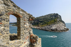 Palmaria island and stone window Royalty Free Stock Images