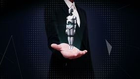 Palmas abiertas de la empresaria, cuerpo giratorio del robot de la transparencia 3D almacen de metraje de vídeo