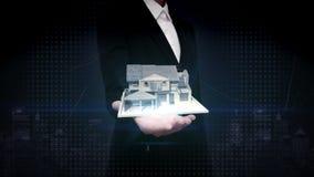 Palmas abiertas de la empresaria, propiedades inmobiliarias, casa construida Hacia fuera vendida muestra almacen de video