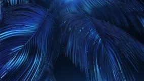 palmas abstractas Azul-violetas con brillo almacen de metraje de vídeo