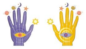 Palmas con símbolos psíquicos Foto de archivo libre de regalías