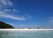 Palmas de coco en la playa Imagen de archivo libre de regalías