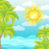 Palmas del sol del mar del fondo del verano Imagen de archivo