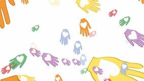 Palmas del vuelo con los corazones, las manos multicoloras como símbolo del amor y la paz libre illustration