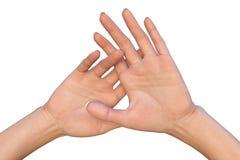 Palmas fêmeas acima aumentadas com dedos cruzados Fotos de Stock